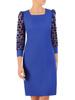 Chabrowa, prosta sukienka z bufiastymi rękawami w groszki 30607