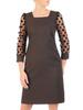 Czarna, prosta sukienka z bufiastymi rękawami w groszki 30608