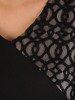 Czarna sukienka z ażurową wstawką, wieczorowa kreacja z łączonych materiałów 24109