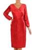 Czerwona aksamitna sukienka z kopertowym dekoltem 27575