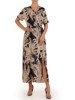 Długa sukienka z kopertowym dekoltem 26296