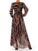 Elegancka sukienka maxi, kreacja z ozdobnymi rozcięciami na rękawach 27150
