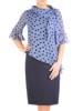 Elegancki komplet damski, granatowa sukienka z szyfonową bluzką 29516