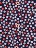 Granatowa bluzka w groszki z wiązaniem na rękawach 23949