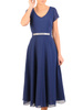 Granatowa rozkloszowana sukienka z ozdobną aplikacją w pasie 31125