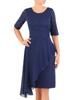 Granatowa sukienka wieczorowa z łączonych materiałów 30620