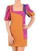 Kolorowa sukienka z dekoltem karo, kreacja z bufiastymi rękawami 30086