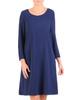 Luźna sukienka z granatowej tkaniny z kieszeniami 30558