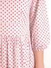 Luźna sukienka z tkaniny, kreacja w czerwone groszki 30050