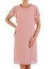 Oryginalna wizytowa sukienka, pudrowa kreacja z półgolfem 26780
