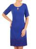 Prosta, chabrowa sukienka z koronkowymi wstawkami 31059