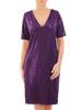 Prosta fioletowa sukienka damska, kreacja z połyskującego materiału 30896