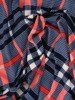 Rozkloszowana sukienka w modną kratkę, kreacja z kopertowym dekoltem 22908
