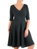 Rozkloszowana sukienka z połyskującej dzianiny, zielona kreacja kopertowa 22869