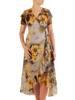 Sukienka koktajlowa, kopertowa kreacja w kwiaty 26359