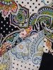 Sukienka w ciekawy wzór, prosty fason z dekoltem w serek 25712