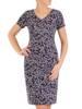 Sukienka w ciekawy wzór, prosty fason z dekoltem w serek 28833