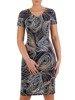 Sukienka w geometryczny wzór, prosty fason z dekoltem w serek 25721