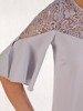 Sukienka wyjściowa, luźna kreacja z ozdobnym dekoltem z koronki 25609