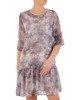Szyfonowa sukienka o trapezowym kroju, kreacja z oryginalnym nadrukiem 25273