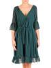Szyfonowa sukienka z kopertowym dekoltem i falbankami 30223