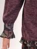 Trapezowa kreacja, fioletowa sukienka z szyfonowymi mankietami 27513