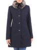 Wełniany płaszcz damski z odpinanym, futerkowym kołnierzem 30669