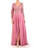 Wieczorowa suknia z koronkowym topem i długą szyfonową spódnicą 31184