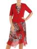 Wyjściowa garsonka z czerwonym żakietem i zwiewną sukienką z szyfonu 26963